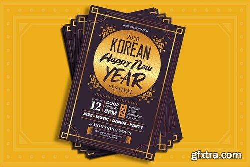 Korean New Year Flyer Template