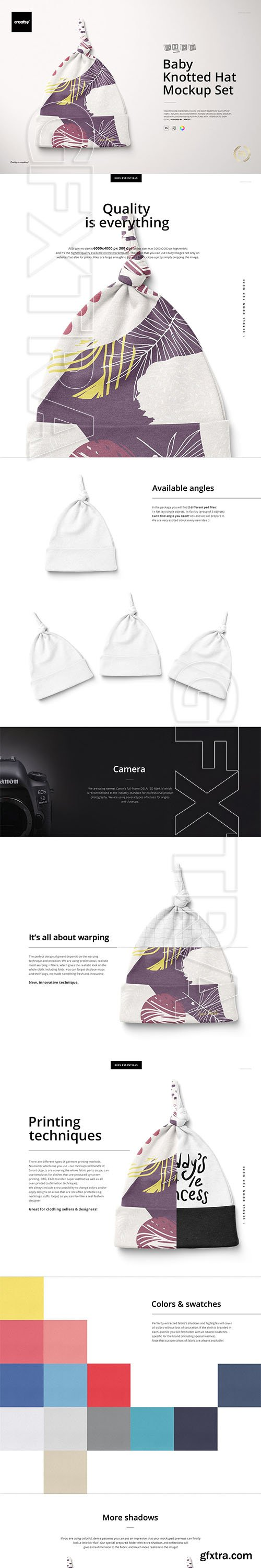 CreativeMarket - Baby Knotted Hat Mockup Set 4287908