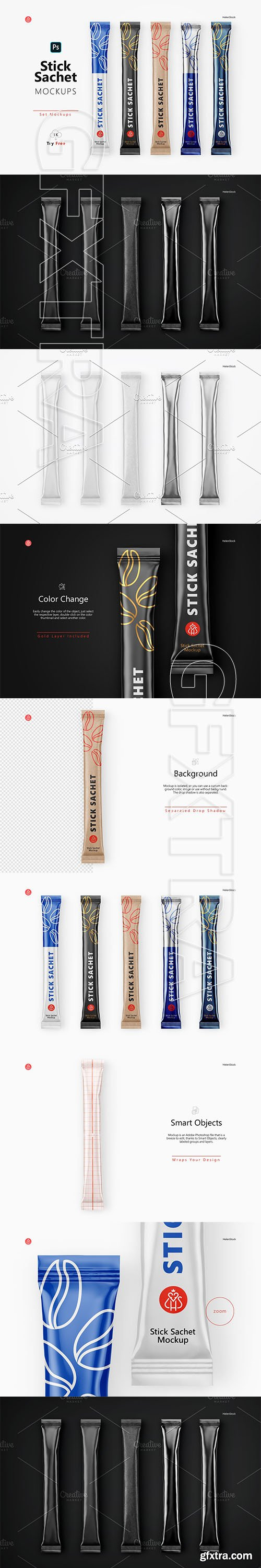 CreativeMarket - Stick Sachet Mockup - Top View 5734220