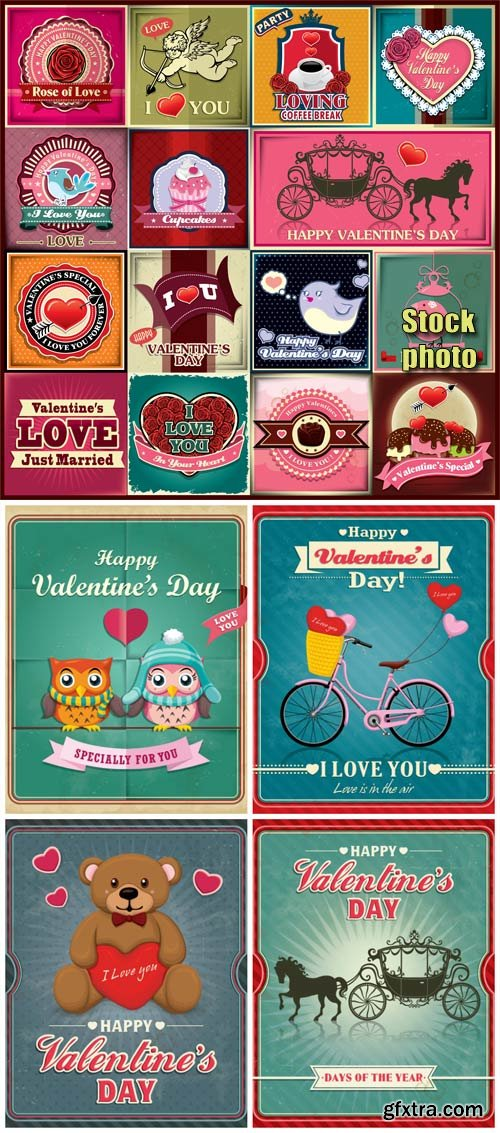 Vintage illustrations in vector for valentine's day