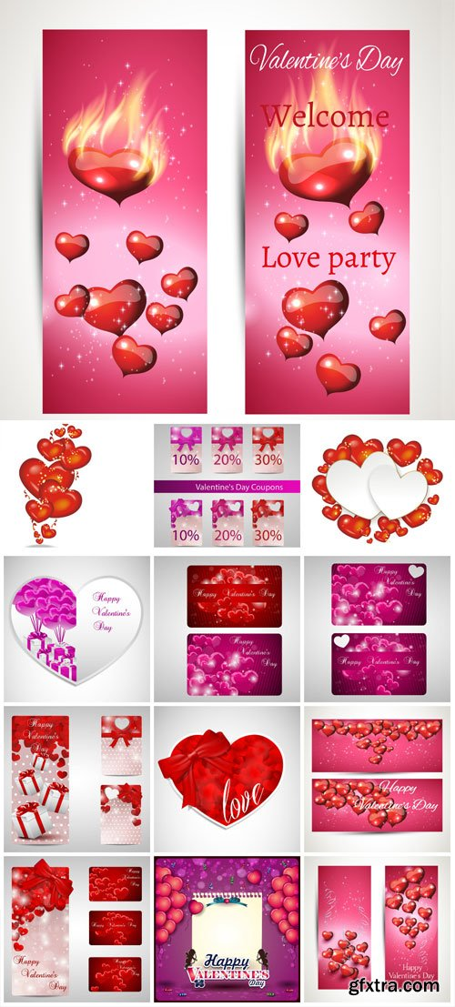 Valentine's day banners and backgrounds in vector