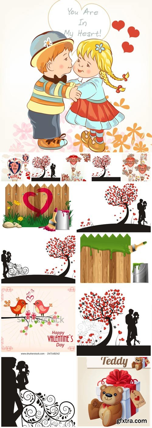 Couples in love, valentine's day in vector