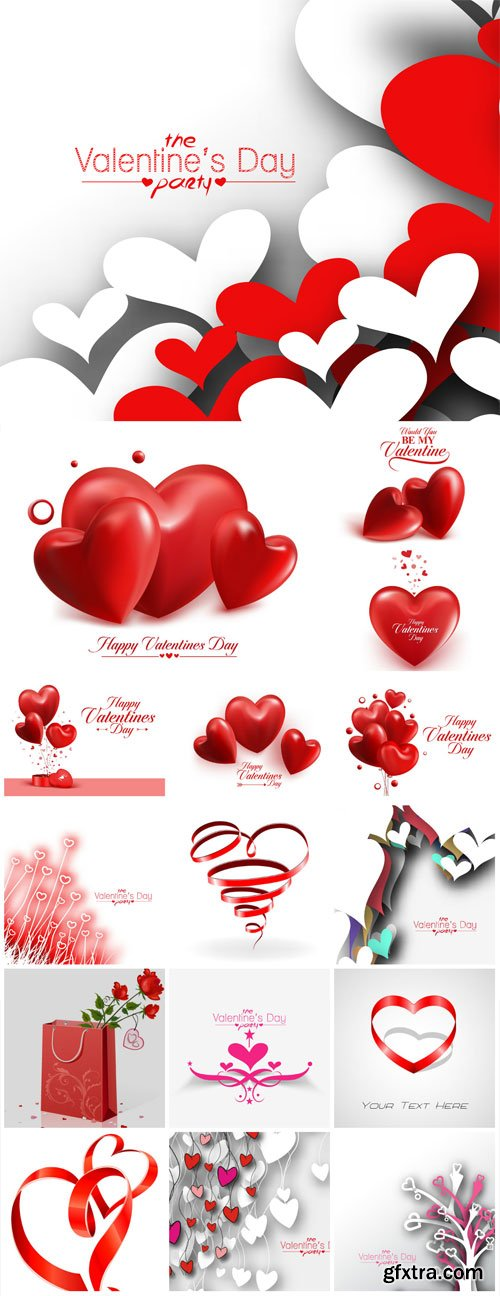 Red hearts on white vector backgrounds