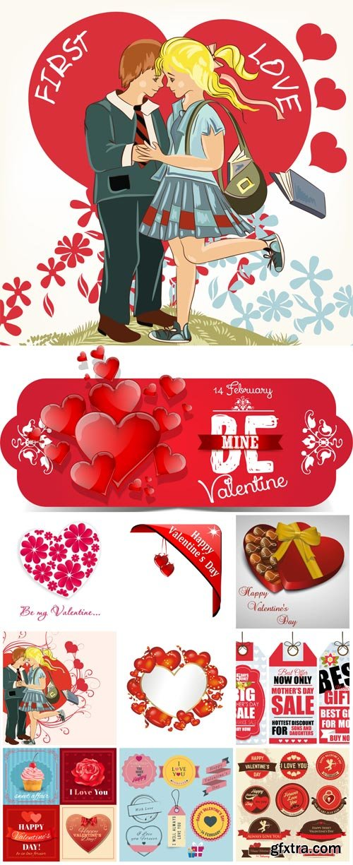 Valentines day labels and romantic illustrations