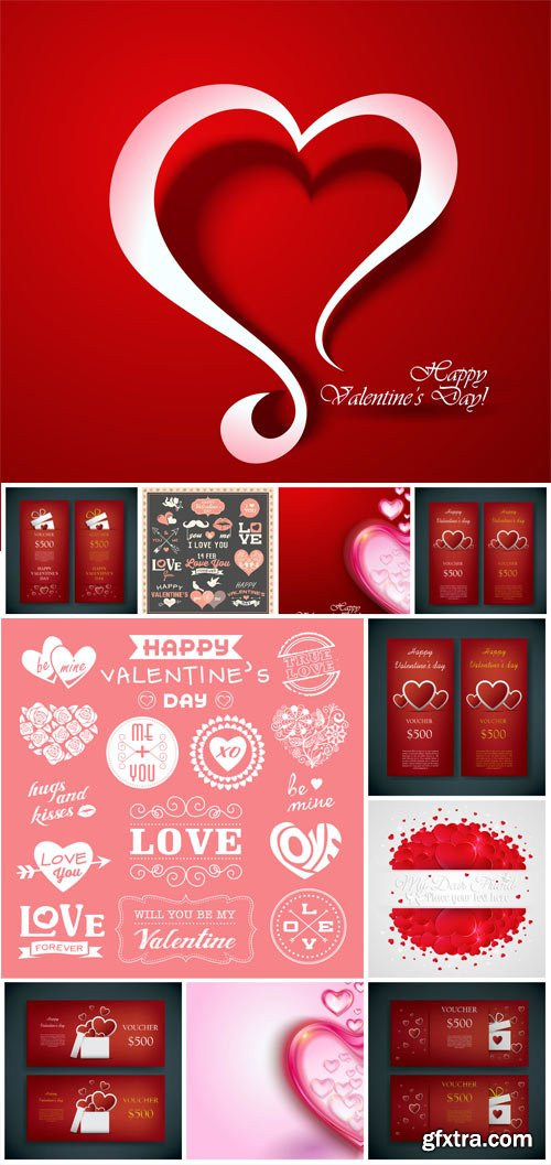 Backgrounds and romantic lettering for valentine's day