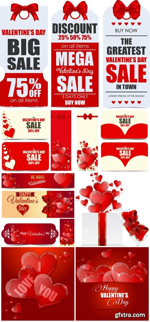 Valentine's day discount banners in vector