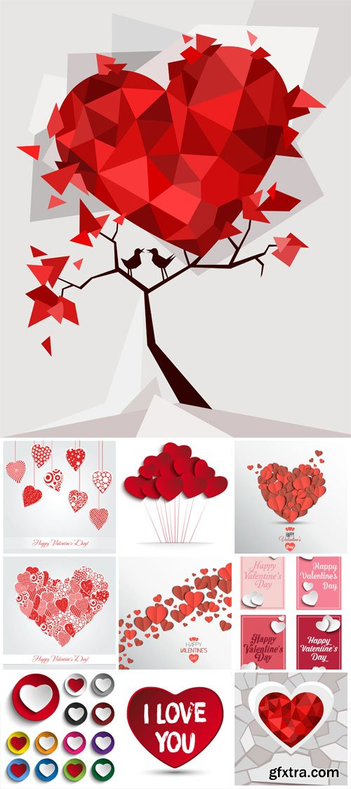 Hearts in the form of stickers for valentine's day in vector