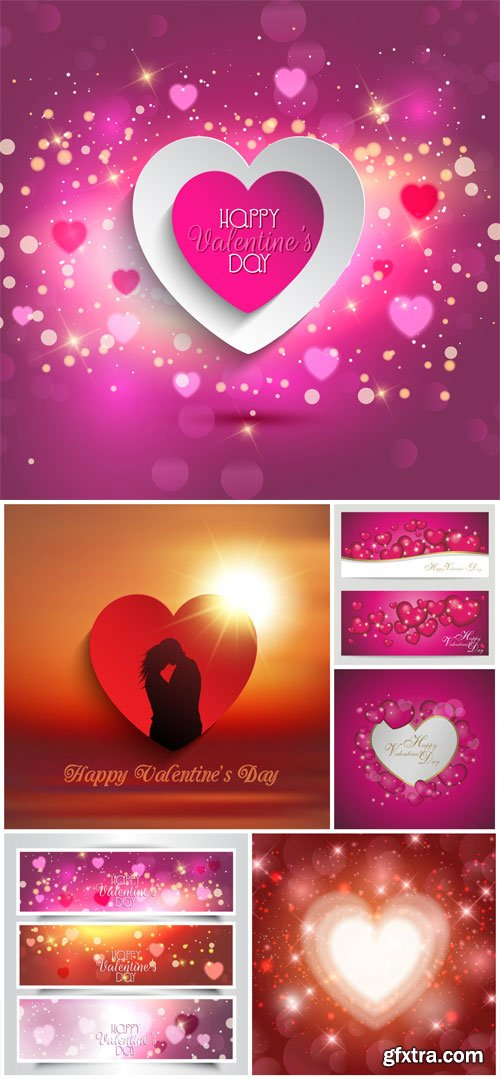 Shining backgrounds for valentine's day in vector