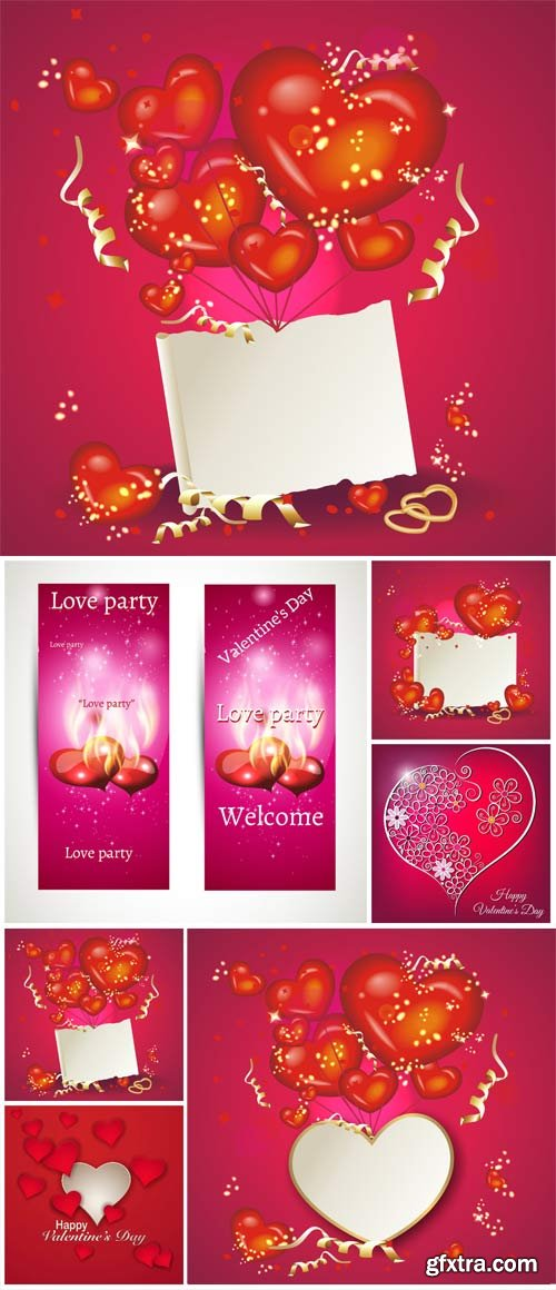 Romantic white posters with hearts for valentine's day in vector