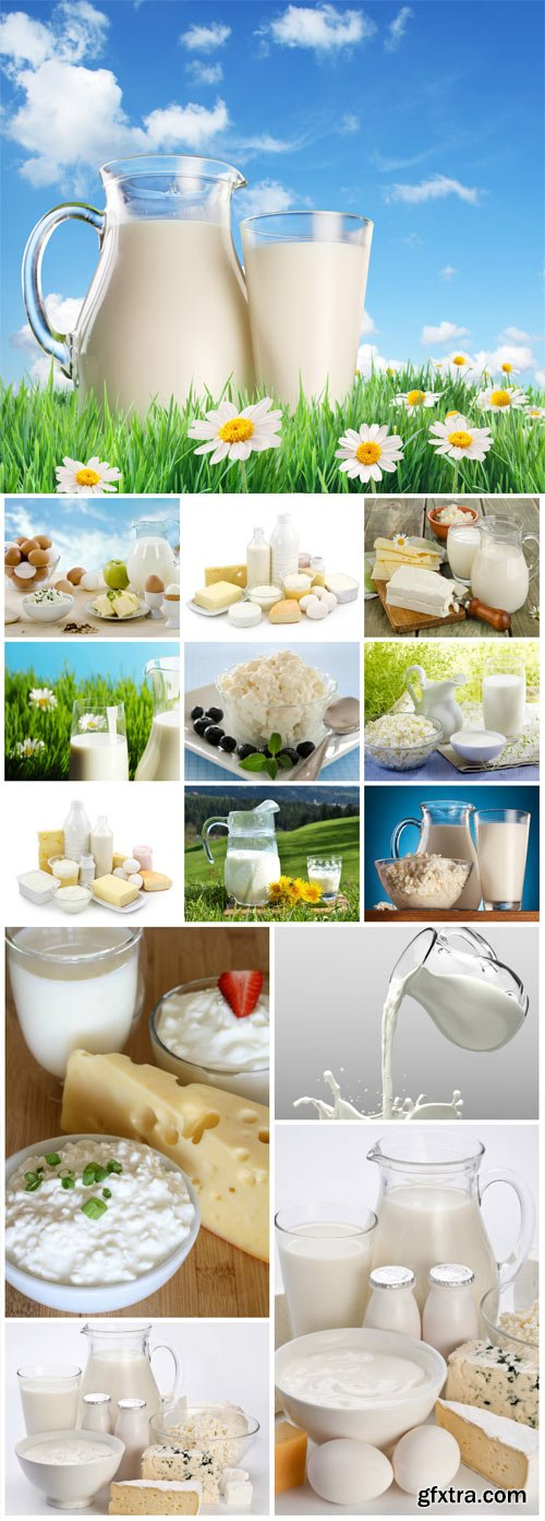 Cottage cheese, milk and dairy products stock photo
