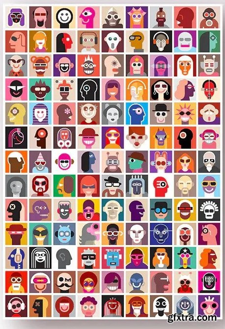 Large set of people portraits, vector avatars