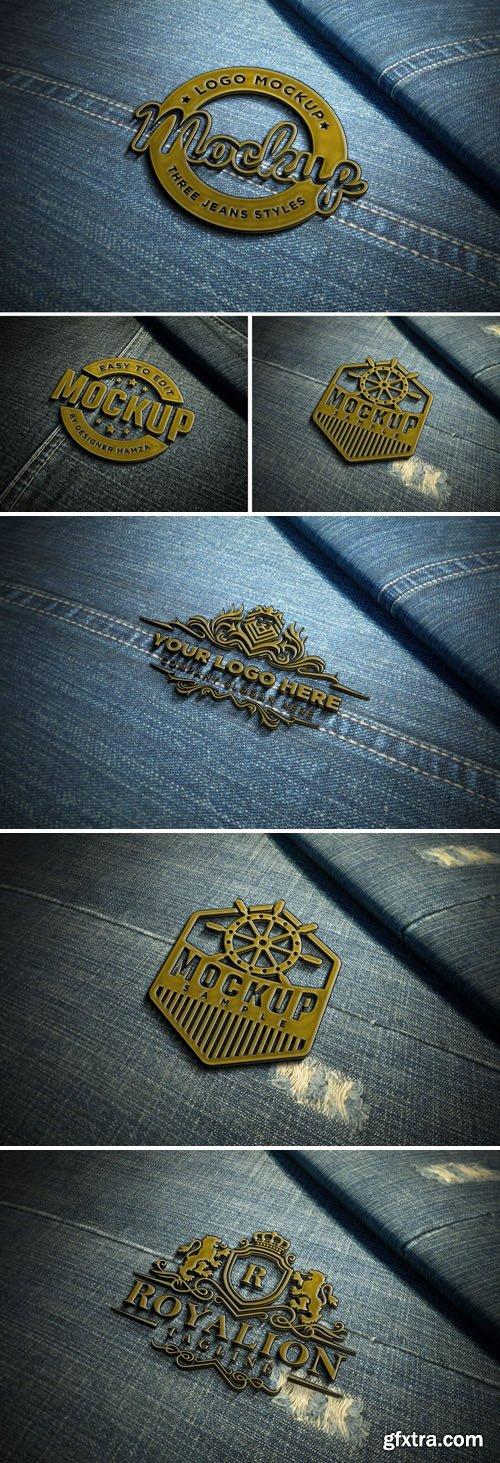 Metal Badge On Jeans - Logo PSD Mockup Template