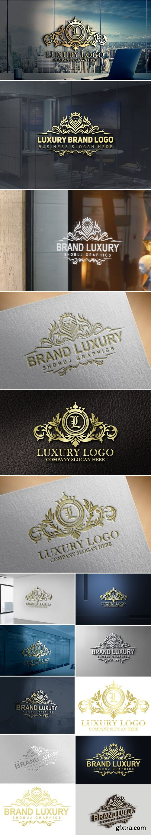Modern Luxury Brand Logo Design PSD Mockups Templates