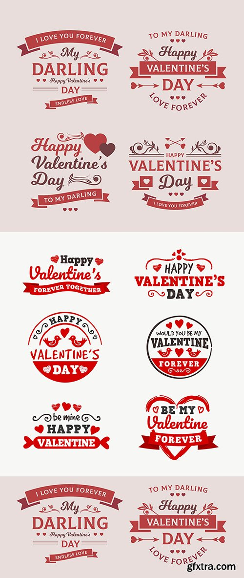 Valentine's Day design romantic emblems with elements