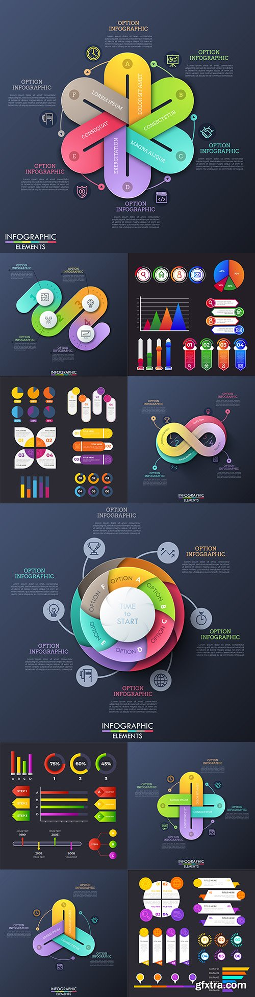 Infographics business options elements collection 11