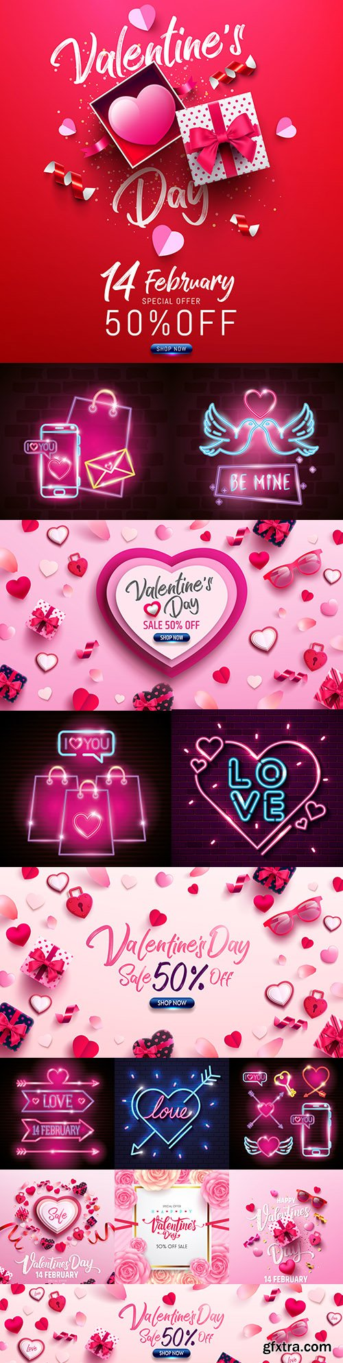 Valentine's Day romantic elements and icons neon lights illustrations