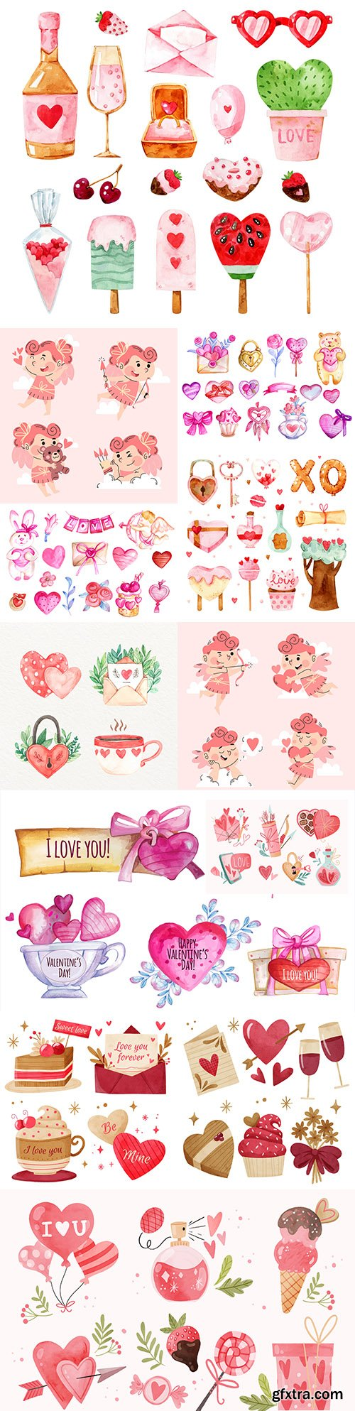St. Valentine's day romantic watercolor illustrations collection 6