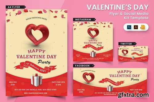 Valentines Day Party Flyer & Social Media Pack