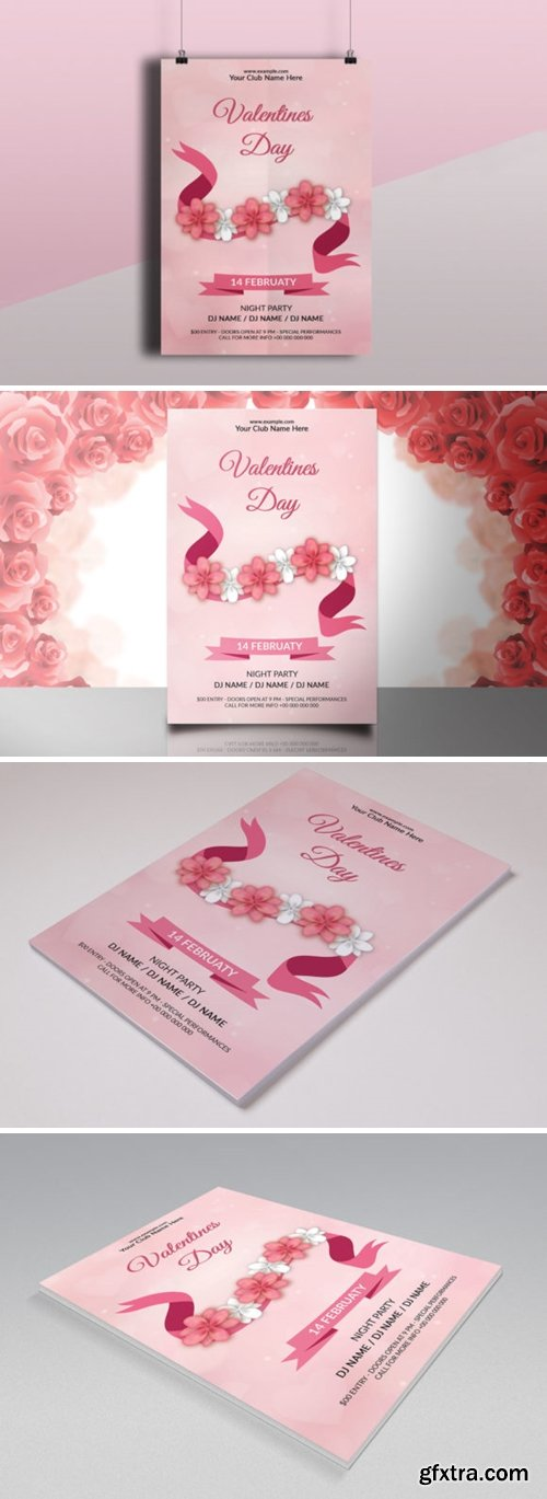 Valentine\'s Day Party Flyer Template 7874369
