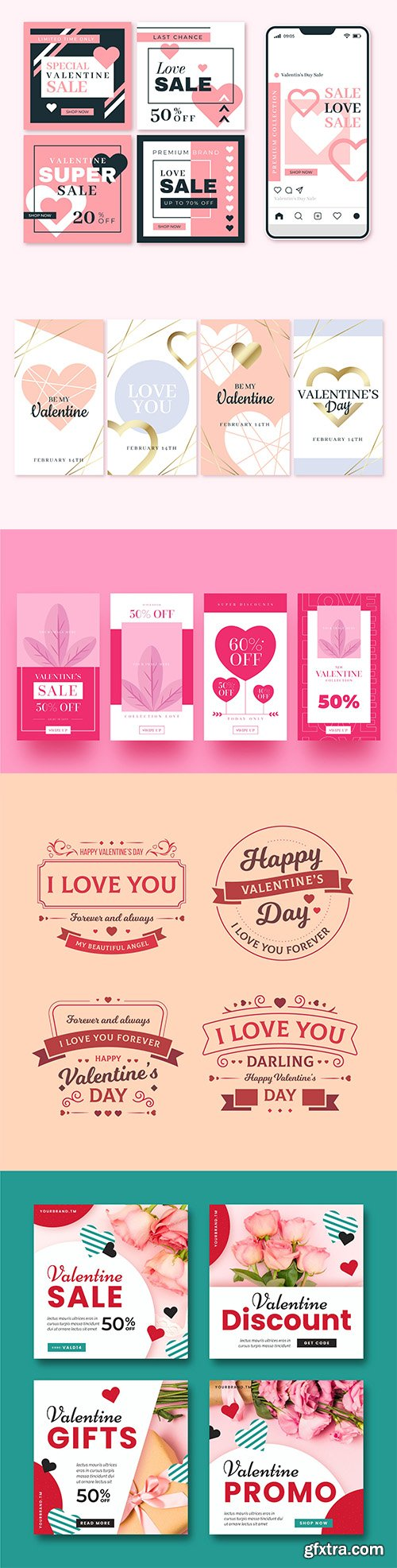 Valentines day story sale posts, stories and labels vector collection