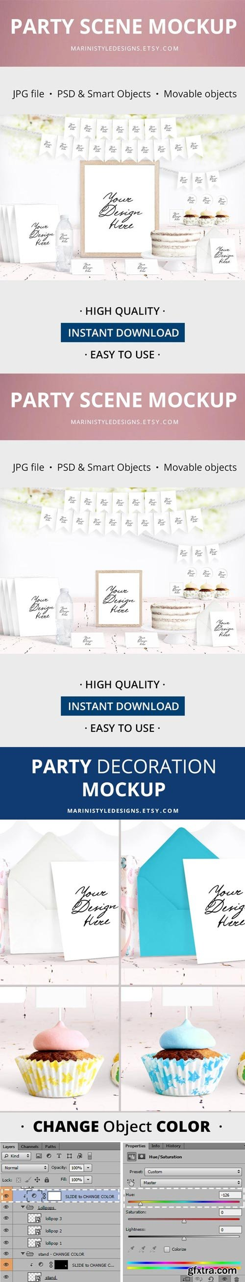 Etsy - Party Scene Creator Mockup, Birthday & Baby Shower Mockup
