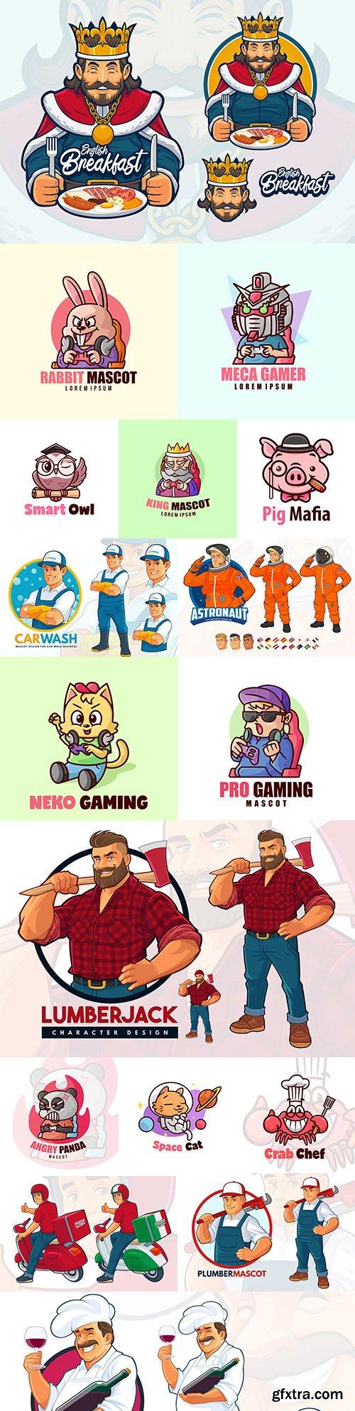 Emblem mascot and brand name logos design 30