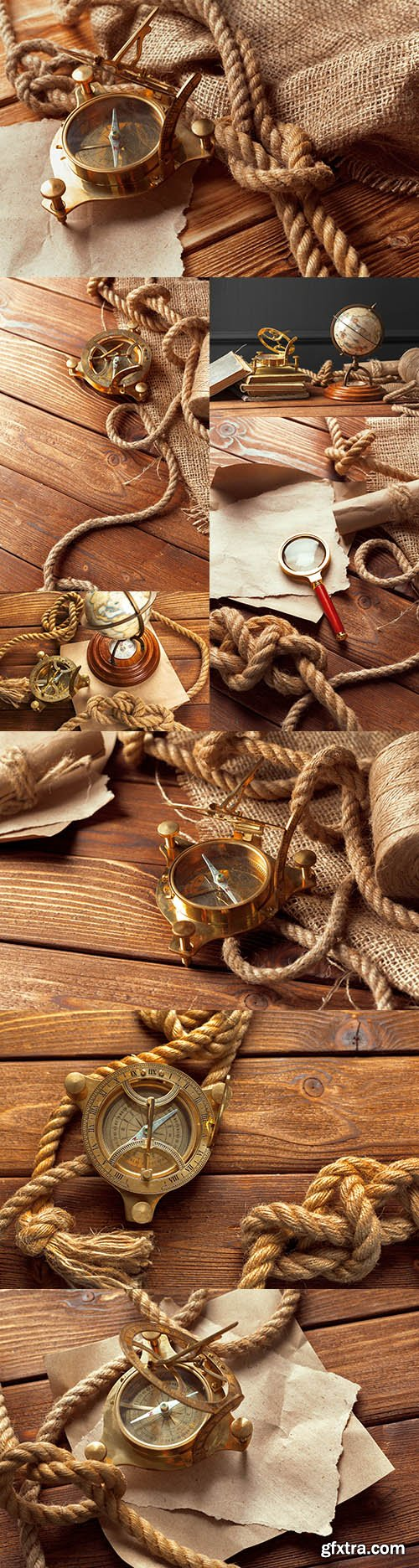 Antique things compass, rope and maps for travel