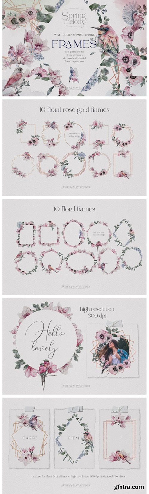 Watercolor Floral Rose Gold Frames PNG 7637209