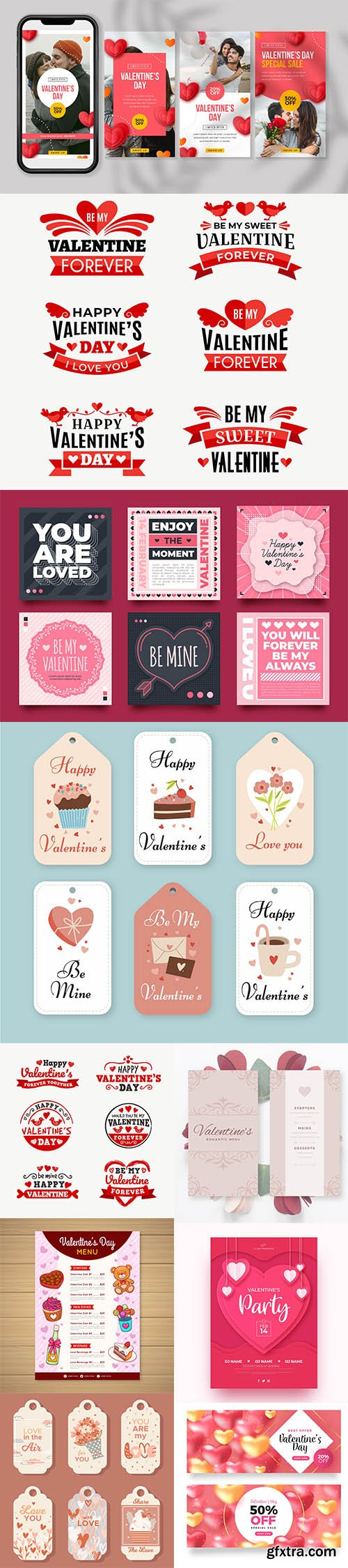 Happy Valentines day vector collection