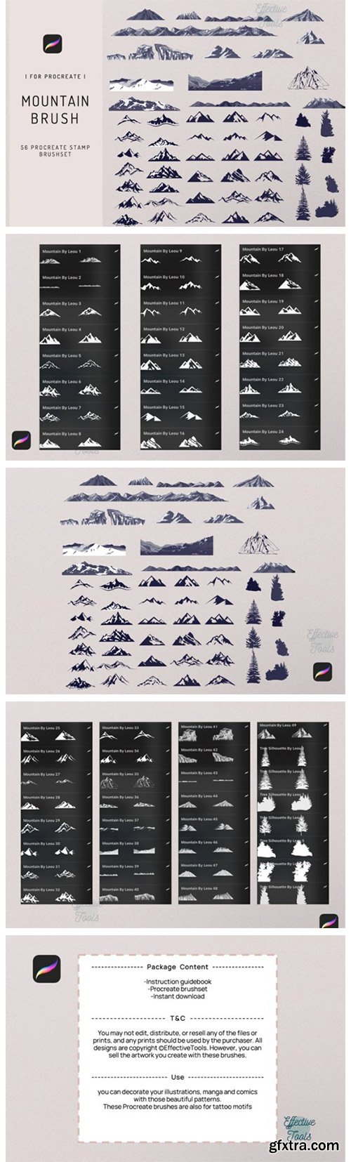 56 Procreate Mountain Stamp Brush 7720256