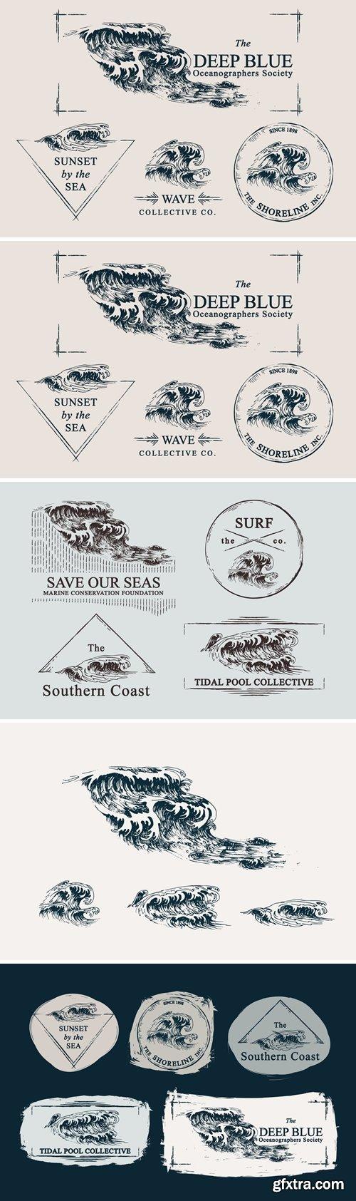 Waves Ocean Illustrations & Templates