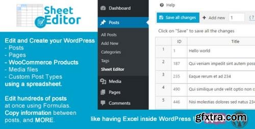 WP Sheet Editor (Premium) v2.23.0 - Edit Posts, Pages, and Custom Post Types With a Spreadsheet - NULLED