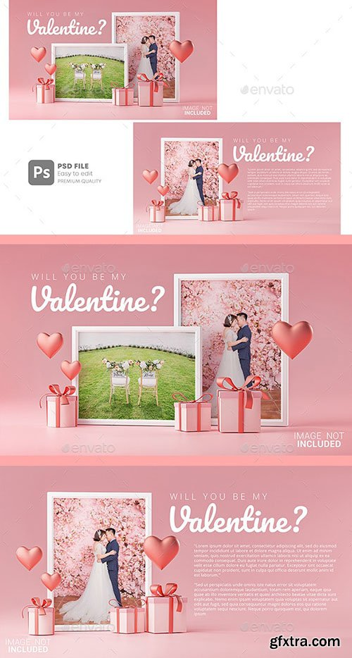 GraphicRiver - Photo Frame Mockup Template Love Heart Valentine Wedding Invitation Card Design 30090490