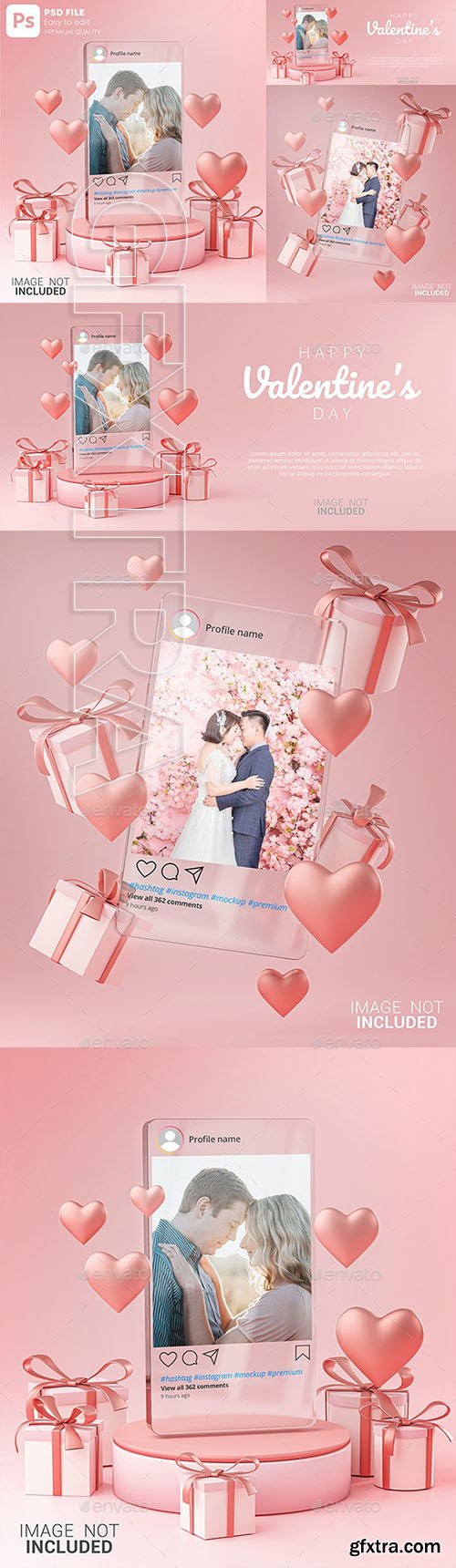 GraphicRiver - Instagram Post Mockup on Glass Template Valentine Wedding Love Heart Shape and Gift Box 3D Rendering 30090315