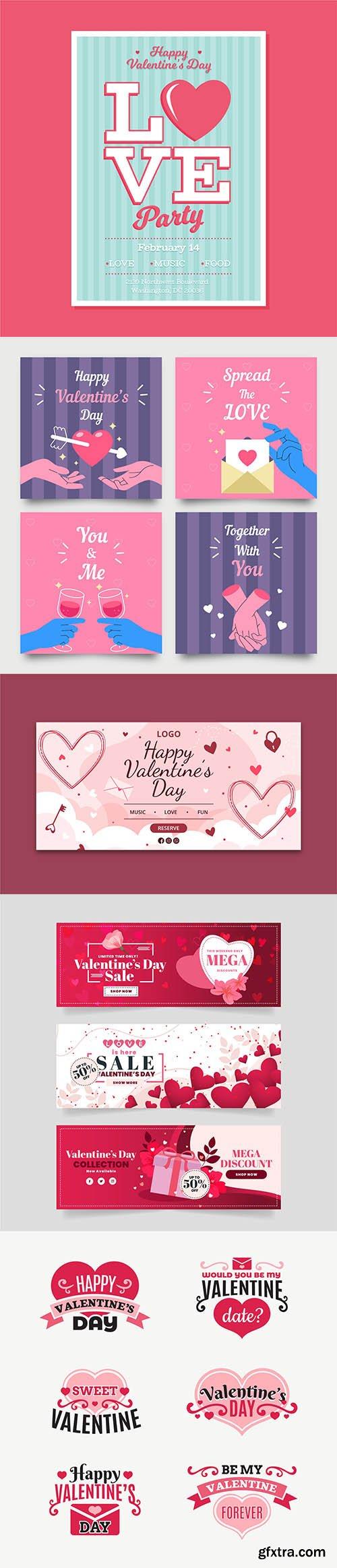 Happy Valentines day vector collection vol 2