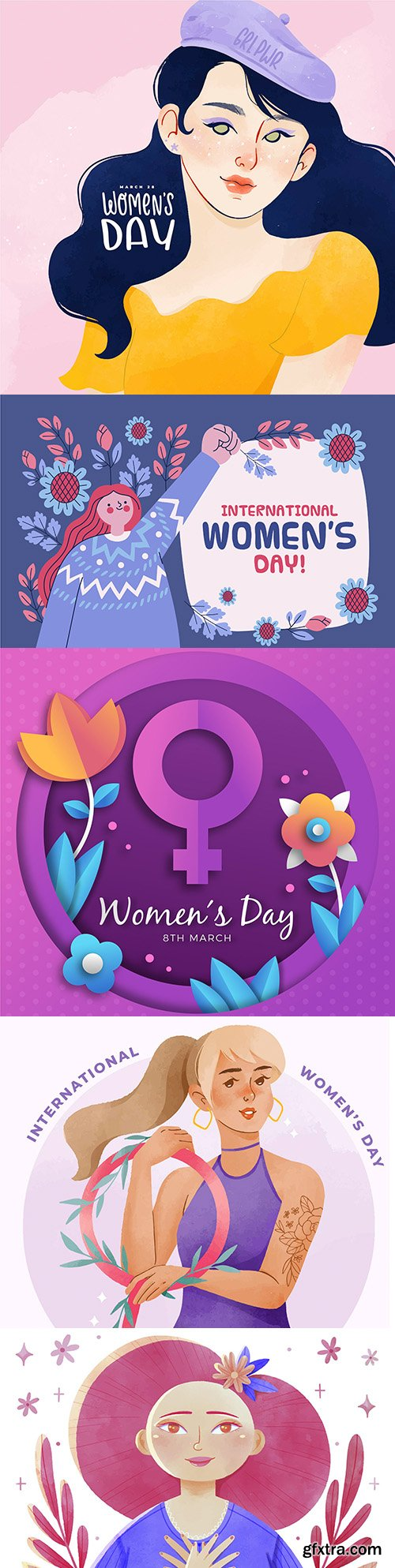 Happy Women's Day March 8 watercolor illustration 3