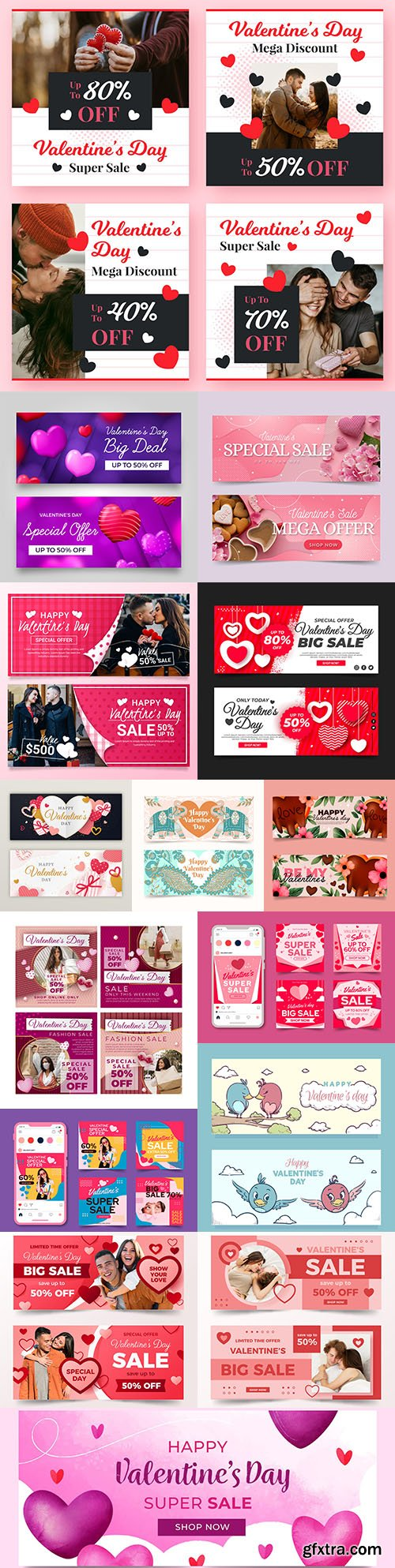 Valentine's Day banner and holiday sales design template