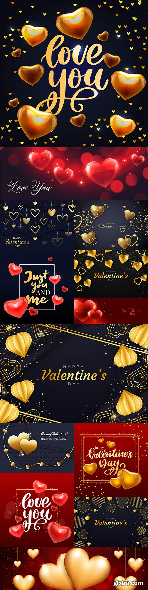 Valentine's Day romantic golden hearts and elements illustration