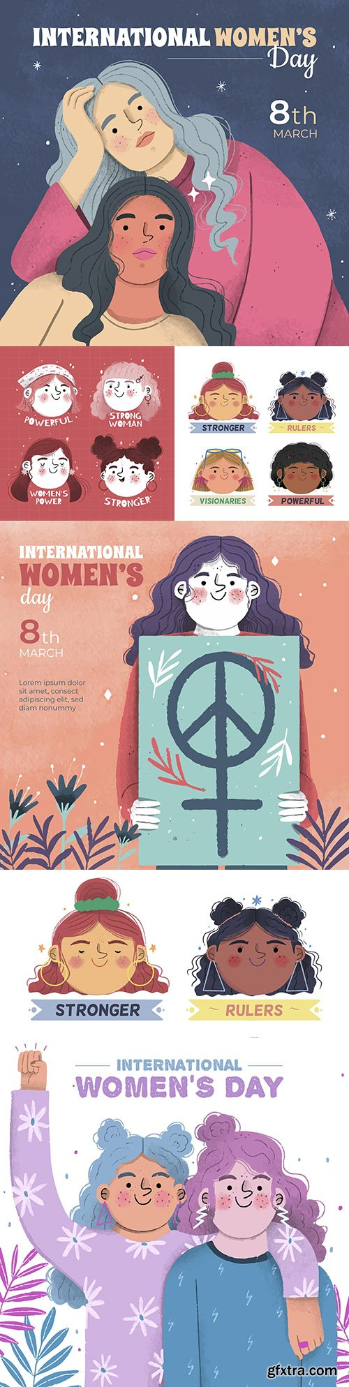 Happy Women's Day March 8 watercolor illustration 2