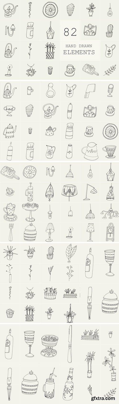 CreativeMarket - 82 Hand Drawn Logo Elements PSD 2445824