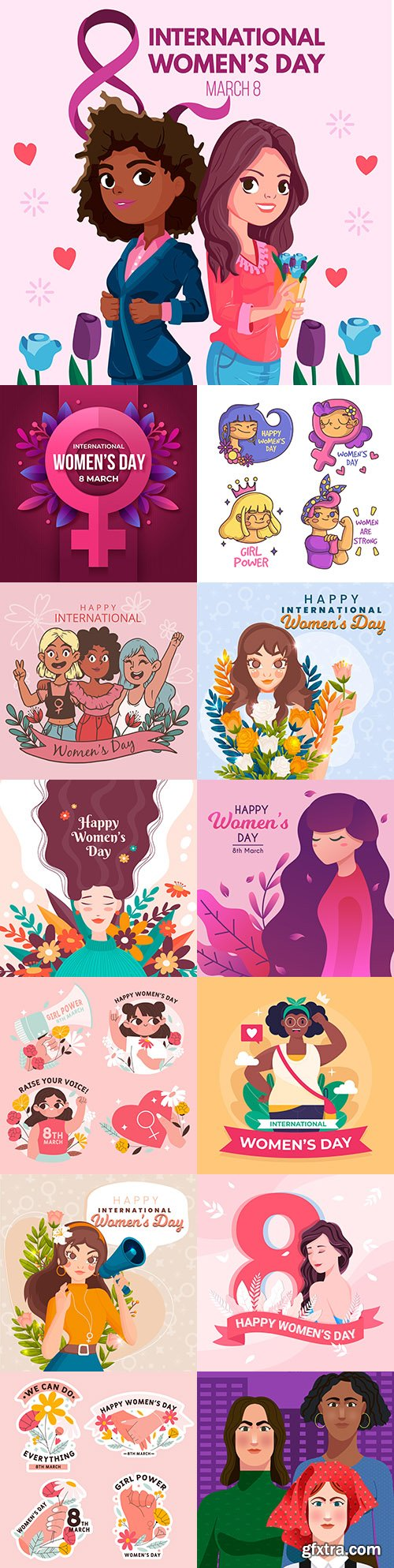 International Women's Day 8 March illustration with woman and flowers