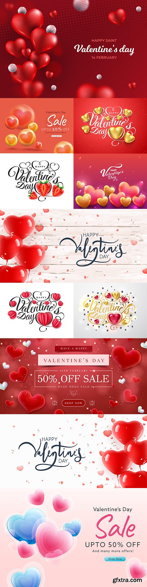 Happy Valentine's Day illustrations with heart-shaped balloons