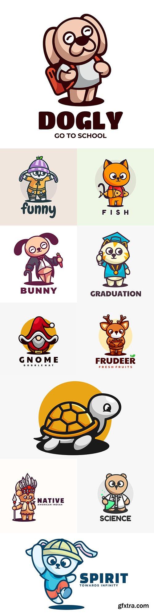 Cute animals Logo illustration linear mascot cartoon style