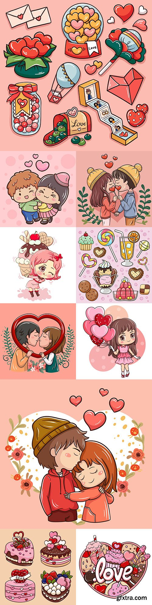 Valentine's Day illustration cartoon elements and gifts