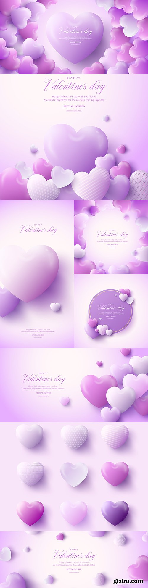 Valentine's Day in lilac design hearts and elements illustrations