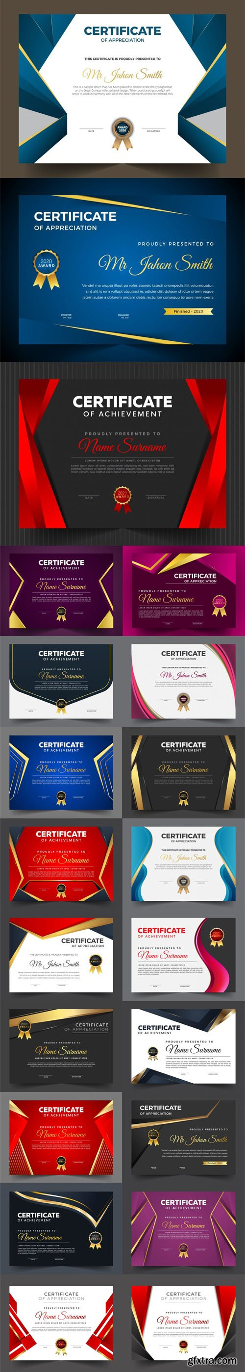 21 Multipurpose Certificate Design Vector Templates Collection
