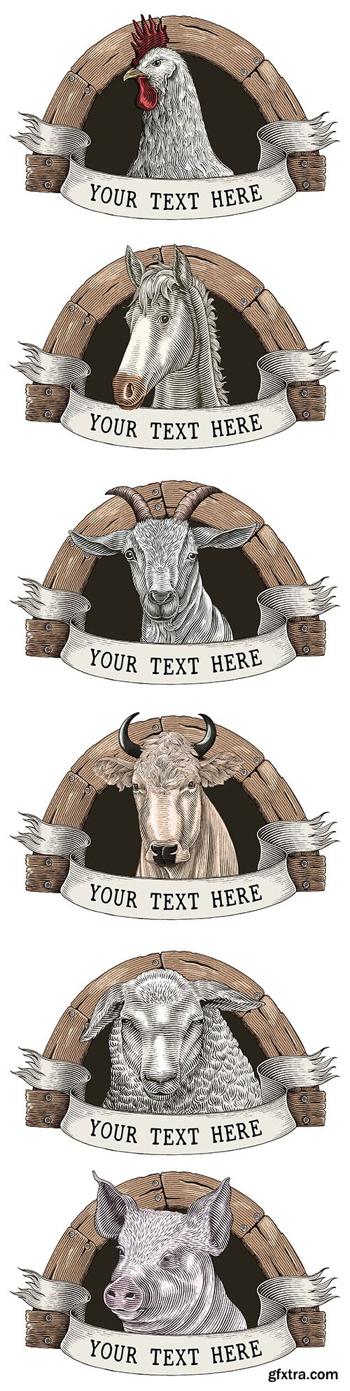 Farm animal logo design ancient engravings style