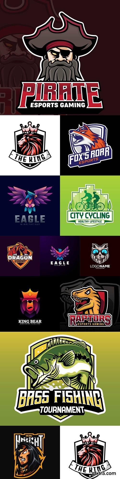Mascot emblem and brand name logos design