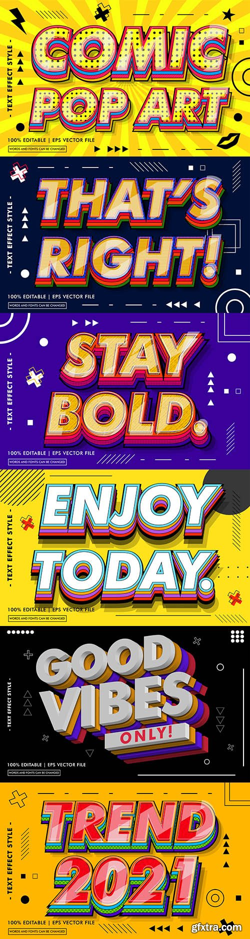 Editable font and 3d effect text design collection illustration 3