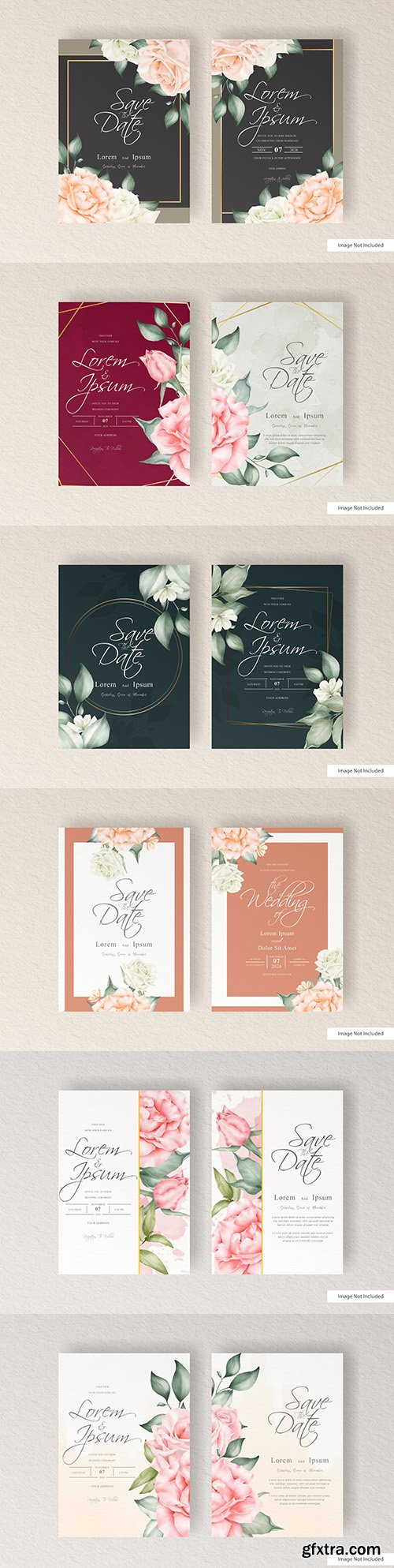 Elegant wedding invitation template with watercolors and flowers